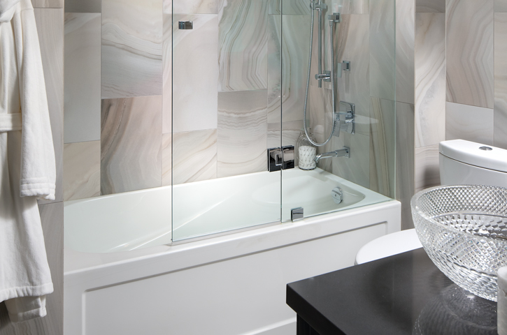 Photo of the shower in a bathroom