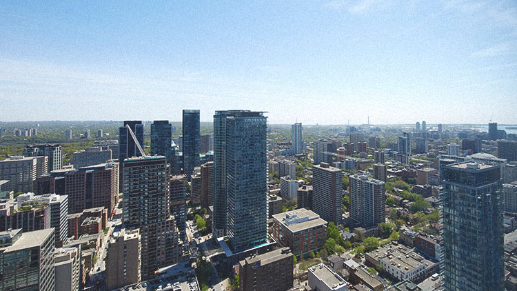 Photograph of the view from the top of Manulife Centre